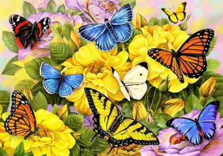 Wooden Jigsaw Puzzle - Butterflies of Summer (#762606) - 500 Pieces