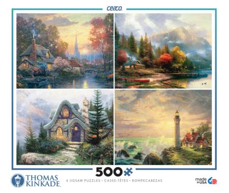 Thomas Kinkade Jigsaw Puzzle - 4 in 1 Kinkade Collection (3641-9) - 500 Pieces x 4