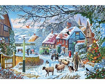 Wooden Jigsaw Puzzle - Country Winter Bus (893208) - 1000 Pieces Wentworth