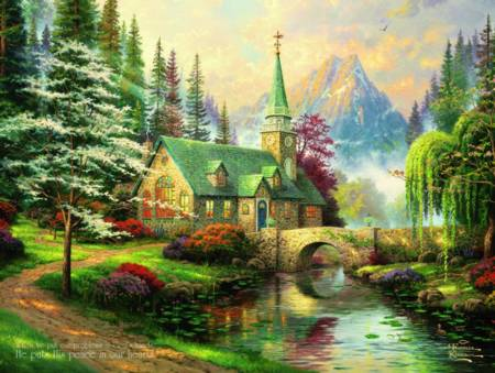 Thomas Kinkade Jigsaw Puzzle - Dogwood Chapel (#2202-25) - 300 Pieces Ceaco