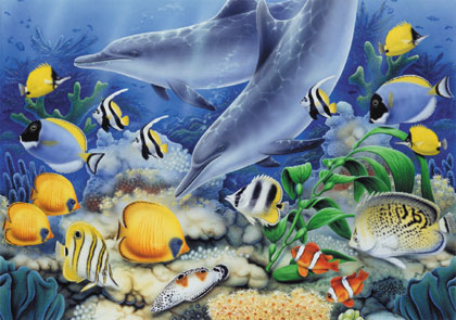 Wooden Jigsaw Puzzle - Dolphin Reef - 250 Pieces