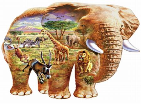 Wooden Jigsaw Puzzle - Elephant Savanna (#561906) - 250 Pieces