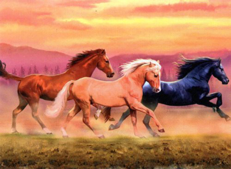 Jigsaw Puzzle - Running Horses (#30732) - 1000 Pieces Clementoni