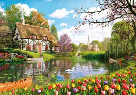 Wooden Jigsaw Puzzle - Lakeside Cottage (#710902) - 1000 Pieces