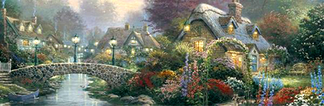 Thomas Kinkade Jigsaw Puzzle - The Valley of Peace - 700 Pieces Ceaco  (Panoramic)