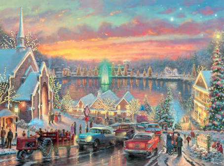 Thomas Kinkade Jigsaw Puzzle - Lights of Christmastown - 1000 Pieces  Ceaco