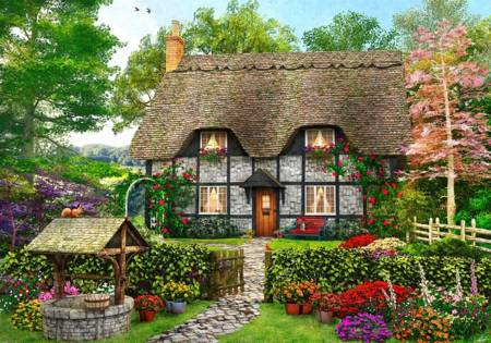 Wooden Jigsaw Puzzle - Meadow Cottage (801902) - 1000 Pieces Wentworth