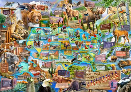 Wooden Jigsaw Puzzle - National Parks of America (#822606) - 1000 Pieces