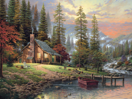 Thomas Kinkade Jigsaw Puzzle - A Peaceful Retreat - 750 Ceaco (Special Edition)