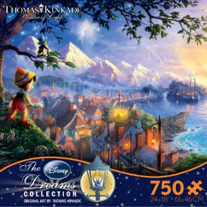 Thomas Kinkade Jigsaw Puzzle - Pinocchio Wishes Upon a Star - 750 Ceaco  (Disney)