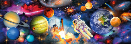 Jigsaw Puzzle - Planets (3D Effect) (Panoramic Image) - 1000 Pieces  Clementoni