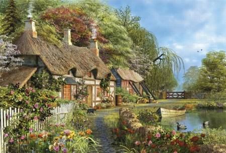 Wooden Jigsaw Puzzle - Riverside Home in Bloom (#620702) - 250 Pieces Wentworth