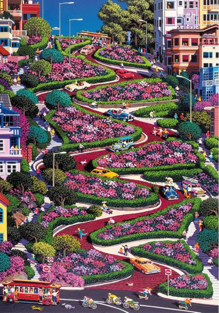 Wooden Jigsaw Puzzle - San Francisco Lombard Street (#782305) - 250 Pieces