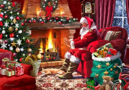 Wooden Jigsaw Puzzle - Santa by Fire (#730401) - 250 Pieces