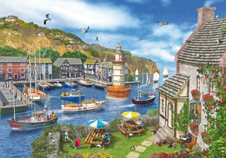 Wooden Jigsaw Puzzle - The Village Harbor (#682702) - 500 Pieces Wentworth