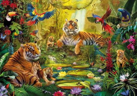 Wooden Jigsaw Puzzle - Tiger Family in the Jungle (#671606) - 250 Pieces